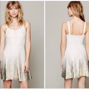 Free People Cream Foil Ombré Dress